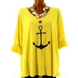 Tunique grande taille t-shirt coton jaune ANCRE