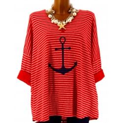 Tunique grande taille t-shirt coton rouge ANCRE