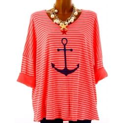 Tunique grande taille t-shirt coton corail ANCRE