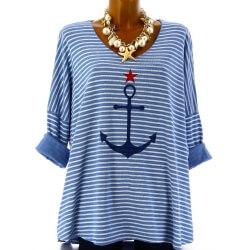 Tunique grande taille t-shirt coton bleu mer ANCRE