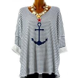 Tunique grande taille t-shirt coton marin blanc ANCRE