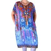 Robe tunique grande taille voile strass bleu CALVI