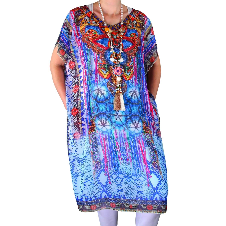 bfc57081611 Robe tunique grande taille voile strass bleu CALVI