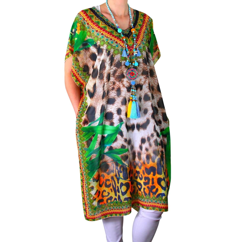 48d512e79a1 Robe tunique grande taille voile strass vert CALVI