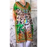 Robe tunique grande taille voile strass vert CALVI
