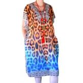 Robe tunique grande taille voile strass orange CALVI
