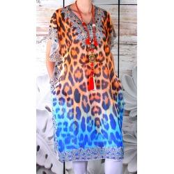 Robe tunique femme grande taille voile CALVI Orange Tunique femme