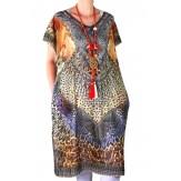 Robe tunique grande taille voile strass fauve CALVI