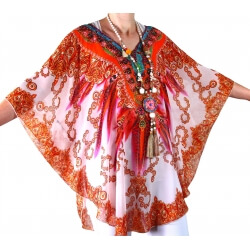 Tunique poncho été mousseline strass orange GYPSY