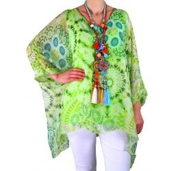 Tunique poncho grande taille soie vert MARTINO