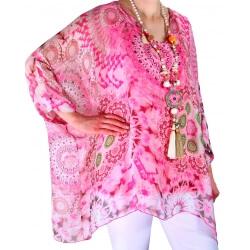 Tunique poncho grande taille soie rose MARTINO