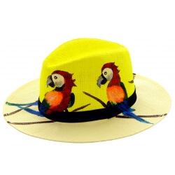 Chapeau de paille peint à la main femme perroquet jaune