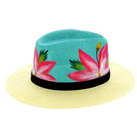 Chapeau de paille peint à la main femme fleurs turquoise