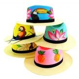 Chapeau de paille peint à la main femme fleurs turquoise-Chapeau paille femme été-CHARLESELIE94