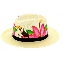Chapeau de paille peint à la main femme toucan rose