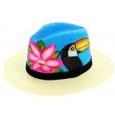 Chapeau de paille peint à la main femme toucan bleu