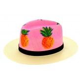 Chapeau de paille peint à la main femme ananas