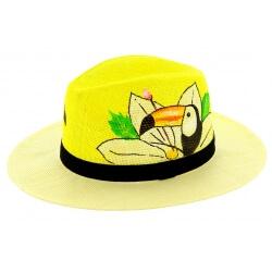 Chapeau de paille peint à la main femme toucan jaune
