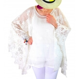 Tunique poncho grande taille dentelle MUSCAT blanc