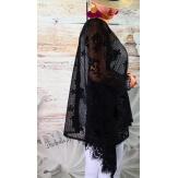 Tunique poncho grande taille dentelle MUSCAT noir