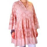 Tunique longue grande taille dentelle bohème rose GLAMOUR