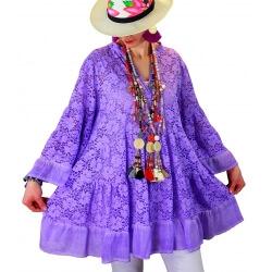 Tunique longue grande taille dentelle bohème violet GLAMOUR