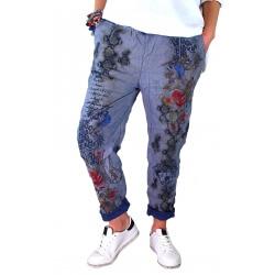 Pantalon jean grande taille loose bleu PANAME