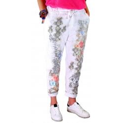 Pantalon jean grande taille loose blanc PANAME