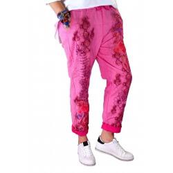 Pantalon jean grande taille loose fushia PANAME