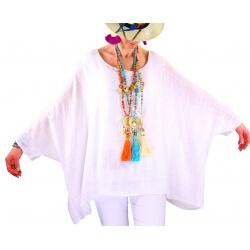 Tunique poncho été bohème grande taille blanc POEME