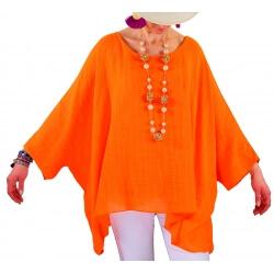 Tunique poncho été bohème grande taille orange POEME