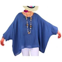 Tunique poncho été bohème grande taille bleu jean POEME