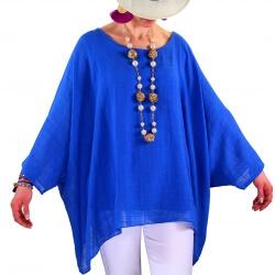 Tunique poncho été bohème grande taille bleu royal POEME