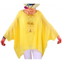 Tunique poncho été bohème grande taille jaune POEME