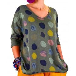 Tunique grande taille tee shirt kaki MACARON