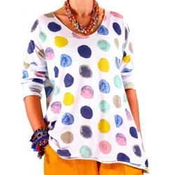 Tunique grande taille tee shirt blanc MACARON