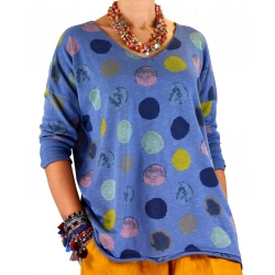 Tunique grande taille tee shirt bleu jean MACARON