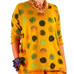 Tunique grande taille tee shirt jaune MACARON