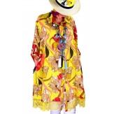 Chemise femme grande taille robe dentelle jaune NONZA