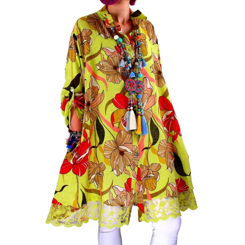 Grande Vert Robe Chemise Taille Nonza Femme Dentelle FTK1Jclu35