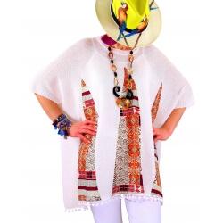 Poncho pull été grande taille ethnique blanc LUCETTE