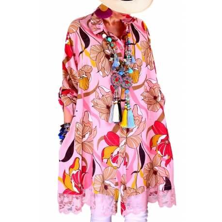 Chemise femme grande taille robe dentelle rose NONZA