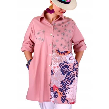 Chemise longue femme grande taille rose POPPIE