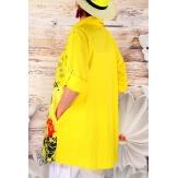 Chemise longue femme grande taille jaune POPPIE