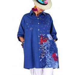Chemise longue femme grande taille bleu POPPIE