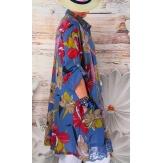 Chemise femme grande taille robe dentelle bleu jean NONZA