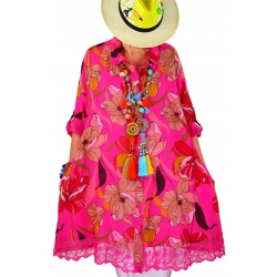 Chemise femme grande taille robe dentelle fushia NONZA