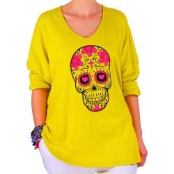 Tunique grande taille skull jaune JEFF