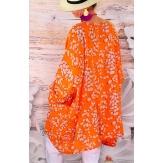 Tunique longue grande taille été orange PALAVAS