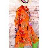 Chemise femme grande taille robe dentelle orange NONZA